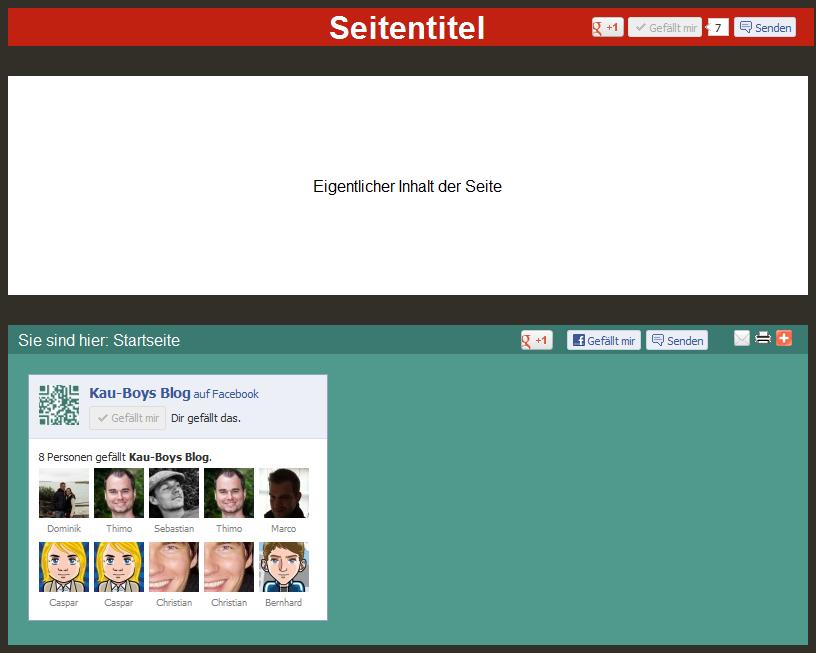 Seite mit Social Bookmark interaktiv