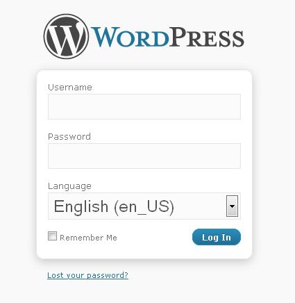 Screenshot der Sprachauswahl im Loginfomular