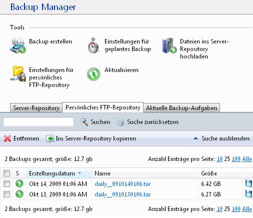 Backup-Manager erstellte Backups