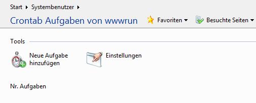 Crontab Aufgaben von wwwrun