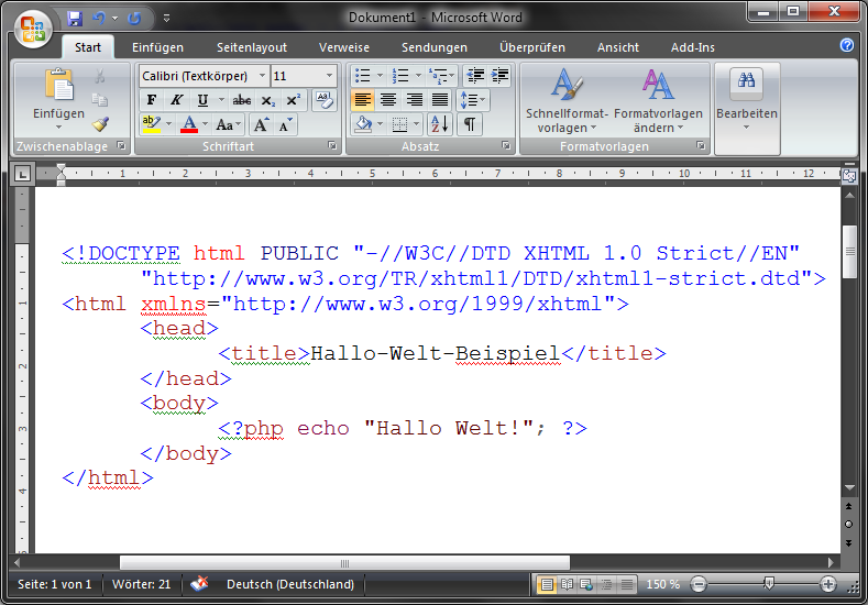 Word 2007 Syntaxhervorhebung