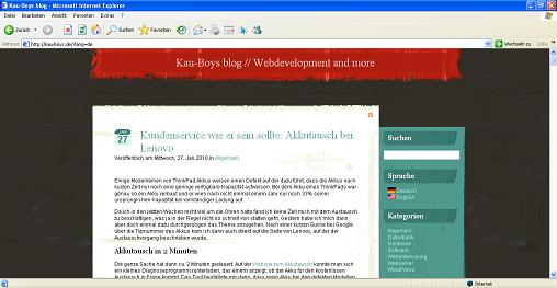 Blog nach der Installation des Plugins