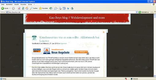 Blog vor der Installation des Plugins