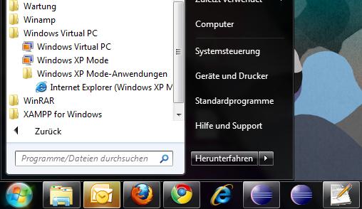 Windows XP Mode - IE6 in Win7 starten