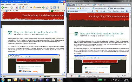 Windows XP Mode - IE6 und IE8 in Windows 7