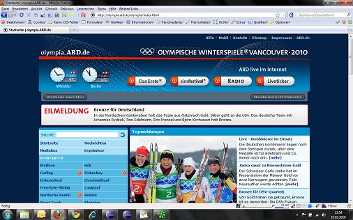 Startseite von olympia.ard.de