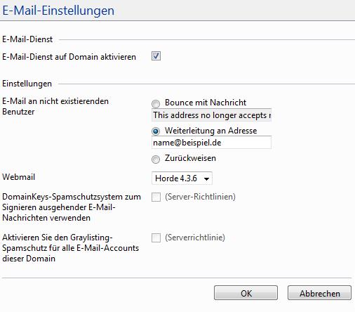 Plesk Domain - E-Mail-Einstellungen