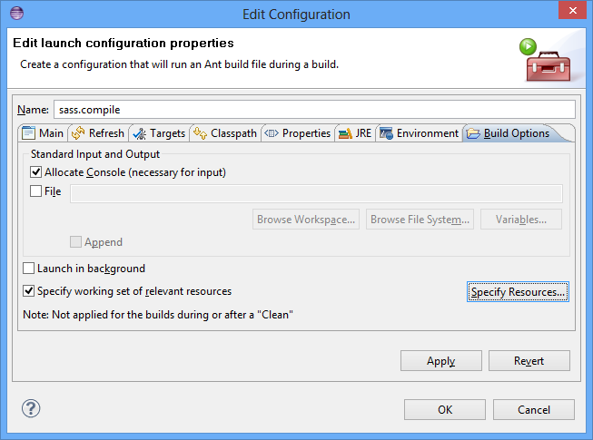 eclipse-Launch-Configuration-Options