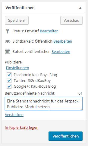 Ein Screenshot der Veröffentlichen Metabox mit dem Jetpack Publicize Eingabefeld